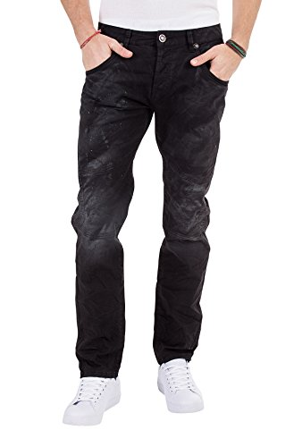 BLUE MONKEY 5 pocket slim fit Jeans mit Paint Splash Print Herren Slim Fit Casualmode 1001312