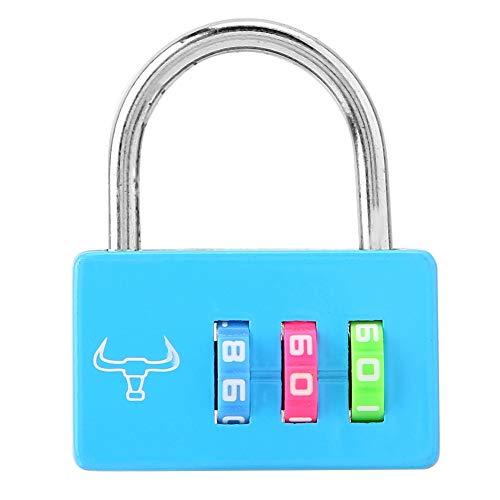 Kleine Vorhängeschloss, kleine Bunte Reise vorhängeschloss diebstahlsicherung Rucksack Schloss 3-stelligen passwortcode, Starke vertraulichkeit, robust und langlebig (Blau) -
