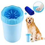 AMEU Hunde Pfote Reiniger, Haustier Pfotenreiniger mit Handtuch, Hunde Fuß Waschen Tasse, Haustiere Fußreiniger für Hunde Katzen Massage Pflege Schmutzige Klauen (10 * 8.5 * 15CM, Blau)