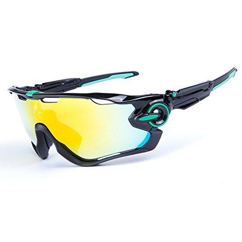 KRY UV400Occhiali da sole sportivi da uomo, infrangibili, montatura in metallo, ideali per guida, golf e pesca, Uomo, Black & Green, 145mm 50mm 122mm