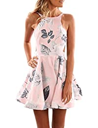 Kleid damen Kolylong® Frauen Elegant Blumendruck Ärmellose Kleid Kurz Festlich  Rückenfrei Kleider Schulterfrei Retro… 16b3797848