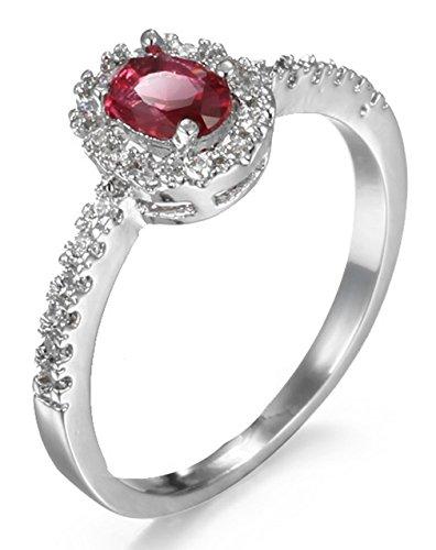 La Vogue Baguesolitaire Princesse Femme Rubis Faux Ovale Sterling Fiançailles Mariage Anniversaire #4