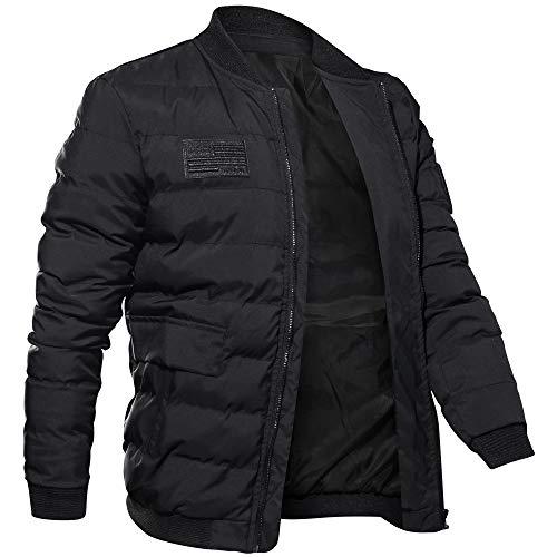 SEWORLD Mantel Sweatshirt Baumwolljacke im Freien Herren Langarm Warmer Färben Solide Reißverschluss Button Jacke Top Bluse für Winter/Herbst/Frühling(X-d-schwarz,EU-46/XX-Large)