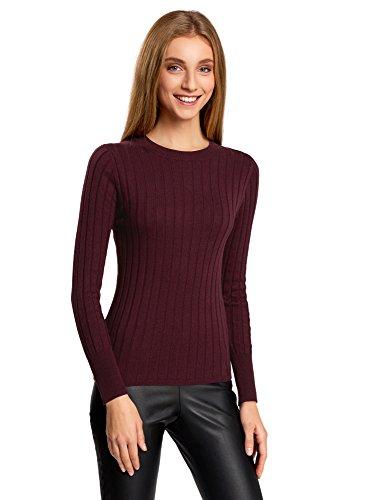 oodji Collection Damen Pullover Breit Gerippt mit Reißverschluss am Rücken, Rot, DE 34 / EU 36 / XS (Rot Gerippt Pullover)