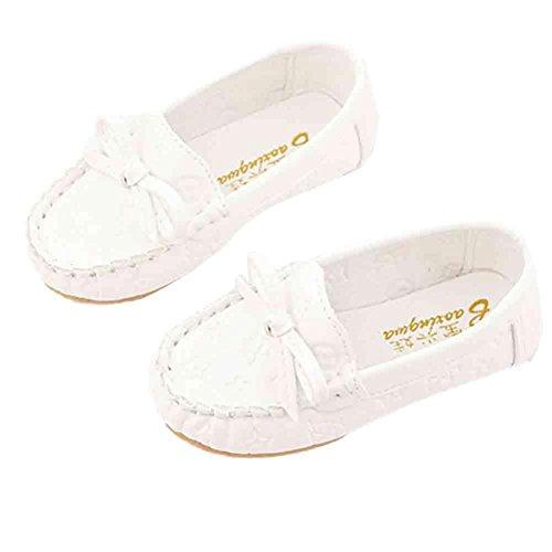 Sannysis Kinder Mädchen Schuhe Sommer Mädchen Prinzessin Single Schuhe (Weiß, 25) (14 Quadratische Ferse)