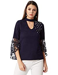 b28c8feba2f Miss Chase Women s Navy Blue Lace Choker Neck Pearl Top