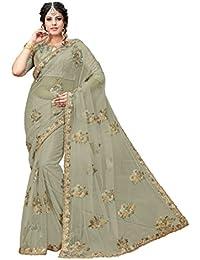 Aarti Apparels Women's Designer Embroidered Net Saree_Rajkumari_Grey