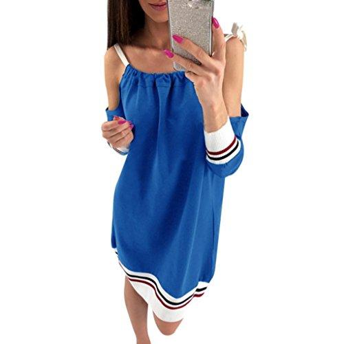 Sannysis Frauen Langarm Aus Schulter Lose Kleid Abend Party Mini Kleid (M, Blau)