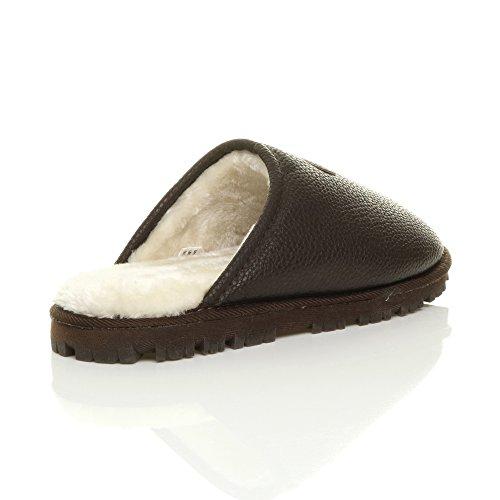 Hommes hiver fourrure luxe chaud confortable cadeau pantoufle chaussons pointure Mat marron