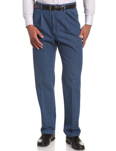 Haggar Herren Arbeitshose, versteckt, Dehnbare Taille, Denim-Falten-Front - Blau - 40W / 34L -
