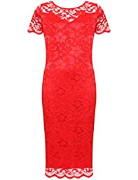 383ef8bc1068a WearAll Plus Size Womens Lace Lined Ladies Short Sleeve Bodycon Midi Dress  - 14-28