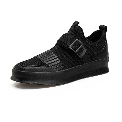 YIXINY Schuhe Frühling Und Sommer Plate Schuhe Männlich Teenager Student Mesh-Schuhe Spleiß Deodorant Atmungsaktiv Weiß / Schwarz ( Farbe : Schwarz , größe : EU40/UK7/CN41 )