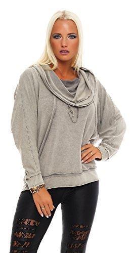ZARMEXX Sweatshirt Pour Dames Pull à capuche Vintage à capuche Doux Coton Extra-large Pull Manches Longues Gris