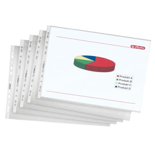 Herlitz Pack - Paquete de 10 portafolios de plástico A3, transparente