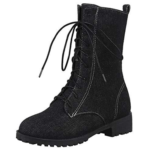 LuckyGirls Botas De Vaqueras Botines Denim Zapatos De Plataforma con Cordones para...