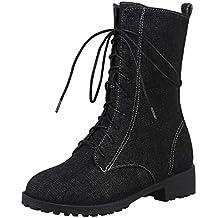 LuckyGirls Botas De Vaqueras Botines Denim Zapatos De Plataforma con Cordones para Mujer Botas De Nieve