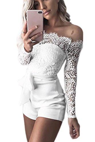 Jumojufol Damen Jumpsuit Sommer Aus Schulter Spitzen Patchwork Rückenfrei Gürtel Bodycon Kurzen Hosen Und Overalls Rompers White L -