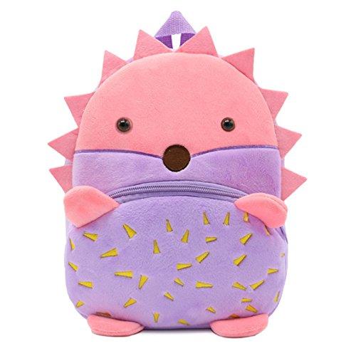 JK Cartoon Kinder Rucksack, Antiverlust Animal Gurt Rucksack Schule Buch Taschen für Baby Mädchen und Jungen Igel 24 * 10.5 * 26.5cm