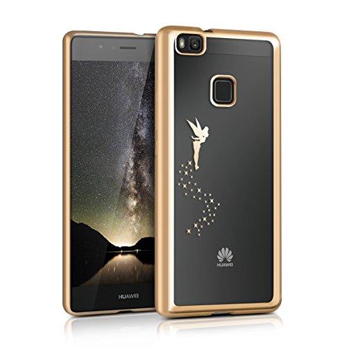 kwmobile Cover per Huawei P9 Lite - Custodia Protettiva in Silicone TPU Cristallo Trasparente - Back Cover Case Cellulare Oro/Trasparente