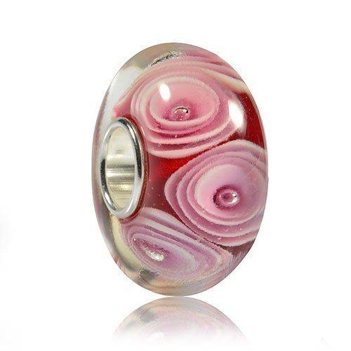 MATERIA verre murano-rose avec perles cr/ème element motif zigzags-argent 925//1000 avec pendentif perles #952
