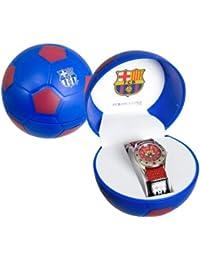 FC Barcelona – Reloj analógico infantil con fondo rojol, con caja de regalo en forma de balón FC Barcelona