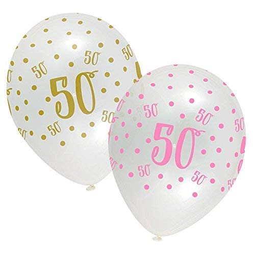 Happy 50th Birthday Polka Dot Latex Balloons