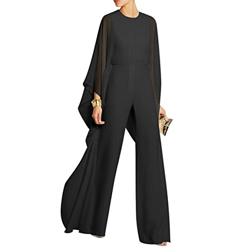 YSTWLKJ Damen Chiffon Overalls Jumpsuit Fledermausärmeln Lang Hosenanzug Business Outfits Party Playsuit (Chiffon Jumpsuit)