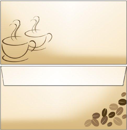 25 Briefumschläge Kaffee Kaffeetassen DIN lang ohne Fenster 6065 (Hochzeit Brunch Einladungen)