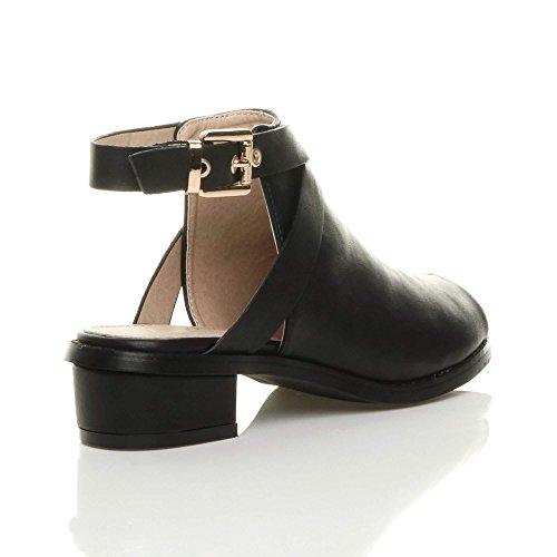 Ajvani Femmes bas mi talon bloc peep toe boucle bottines chaussures sandales pointure Noir mat