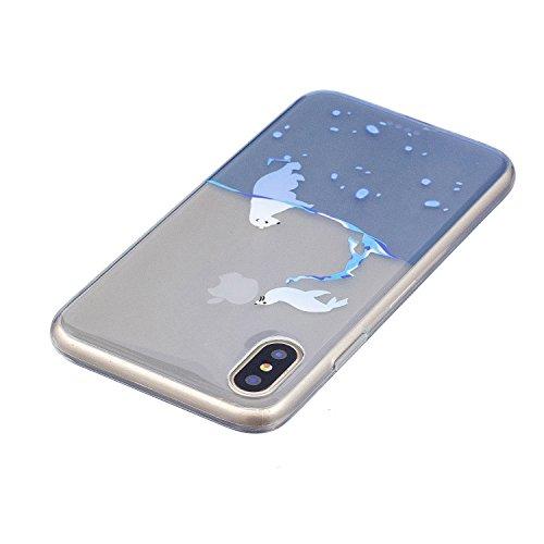 iPhone X Hülle, Voguecase Silikon Schutzhülle / Case / Cover / Hülle / TPU Gel Skin für Apple iphone X(Mädchen im bunten Kleid) + Gratis Universal Eingabestift Seehund