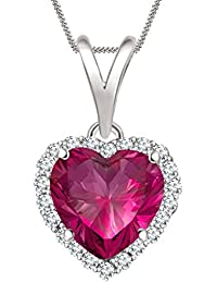 "Silvernshine 7mm Ruby & Sim Diamond Halo Heart Pendant 18"" Chain In 14K White Gold Fn"