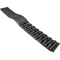 Stainless Steel Replacement Watch Strap 22 mm | 30114 in Silver/Golden/Black, Color: Black
