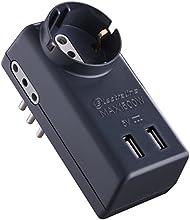 Electraline - Adaptador Multitoma - 1 toma Schuko - 2puertos USB -  2 tomas 10A - 1 toma 10A 230V - Color negro