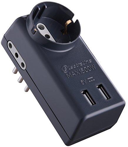 Electraline 70024 Adattatore Multipresa 5 Posti 2 USB, 1 Presa Bivalente Schuko + 10A, 2 Prese 10A, Spina Piccola 10A 230V, Nero