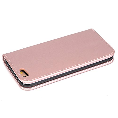 Ekakashop Custodia iphone 6 , Cover iphone 6S, Elegante borsa Custodia in Pelle Protettiva Flip Portafoglio libro Case Cover per Apple iphone 6 6S 4.7 pollice / con Carte Slot / Chiusura Magnetica / f Rosa doro