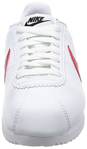 Nike Wmns Classic Cortez Leather, Scarpe da Ginnastica Basse Donna Bianco (White/varsity Red-varsity Royal)