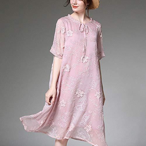 LGMR Kleid,Kleid Sommer,Loses Kleid aus besticktem Seidenchiffon, wunderschönes Temperament,Pink,XL