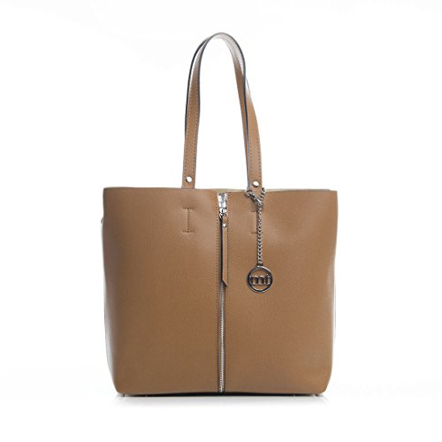 a773d844634 Mia Tomazzi - Leather Handbag - CUOIO (26) - Made in Italy - 30x8x30