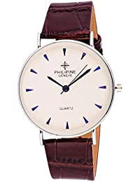 Malasart Latest New Mens Philipine Geneve Silver White Round Dial Brown Leather Strap Analog Boys Wrist Watch