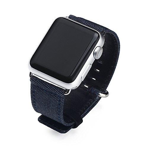 Apple Watch Armband 38 Leder, KONKY iWatch 38mm Ersatz Uhrenarmband Ausgezeichnet Textur Hauptschicht Rindsleder Lederarmband mit Edelstahlschließe für Apple Watch Series 1 & Series 2 & Series 3 38 MM Alle Modelle, Jeans Blau (Jeans Apple)