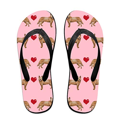 Australian Cattle Dog Red Heeler Hearts Love Dog Breed Pink Flip Flops Rubber Thong Sandal Beach Slipper for Women/Men M