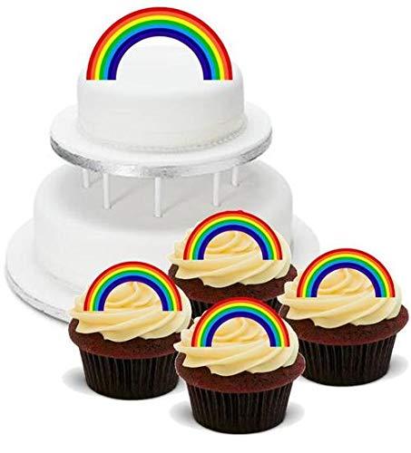 (REGENBOGEN-GEBURTSTAGS-PARTY-PACK - 12 essbare hochwertige stehende Waffeln Kuchen Toppers, RAINBOW BIRTHDAY PARTY PACK - 12 Edible Stand Up Premium Wafer Cake Toppers)