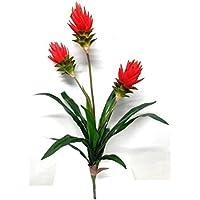 Plante exotique trois branches Fleurs Rouge Orange - Hauteur 90 cm