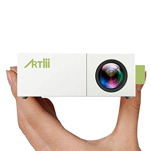 Mini Beamer, Artlii Portable iPhone Smartphone Handy beamer Heimkino Theater mit PC Laptop USB / SD / AV / HDMI Eingang für Video Film Spiel Home