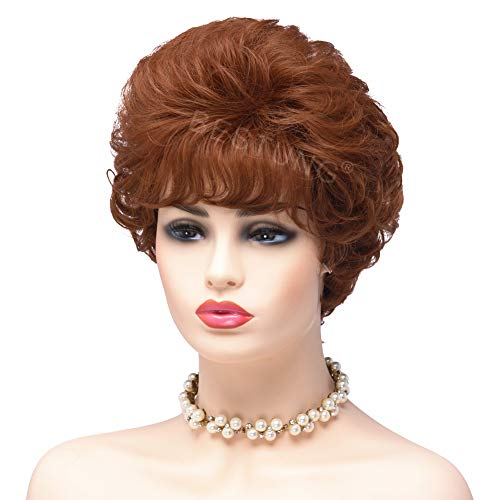 BESTUNG Damen Perücken für Frauen Auburn Rot Kurz Kinky Curl Synthetik Full Hair Perücken Gewellt flauschig Cosplay Kostüm Perücke mit 30/350 #