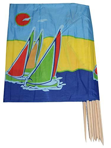 Aves-24 Windschutz 8m x 80cm f. Strand Garten See Meer SICHTSCHUTZ + Gratis Tasche (11. Bunte Boote)