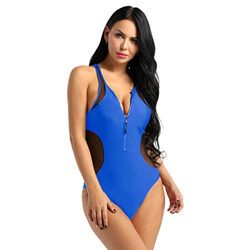 inlzdz Damen Netzstoff Seitenreißverschluss vorne tiefer V-Ausschnitt Racerback Tank Einteiler Badeanzug Badeanzug - Blau - Medium -