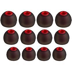 XCESSOR (S/M/L) 6 Paires (12 pièces) D'écouteurs de Rechange en Silicone pour Écouteurs Intra-Auriculaires S/M/L Embouts de Rechange pour Écouteurs Intra-Auriculaires Populaires. Noir/Rouge