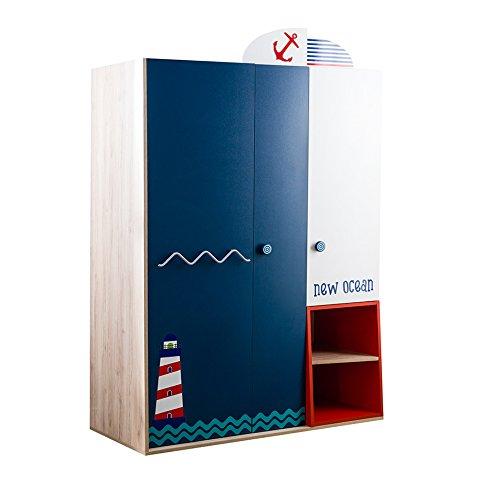Babyzimmer, Babymöbel, Kinderzimmermöbel, Kinderzimmer, Möbel, Kombination:New Ocean Kleiderschrank - blau -