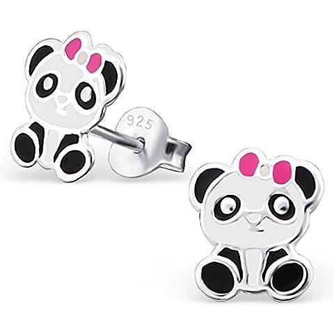 JAYARE® Boucles d'oreilles Enfants panda géant 9 x 7 mm Email argent sterling 925 multicolore avec étui de cadeau clou d'oreilles fille